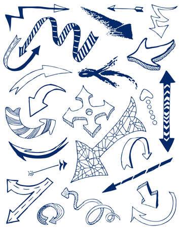 right side: Arrows doodles set. Illustration
