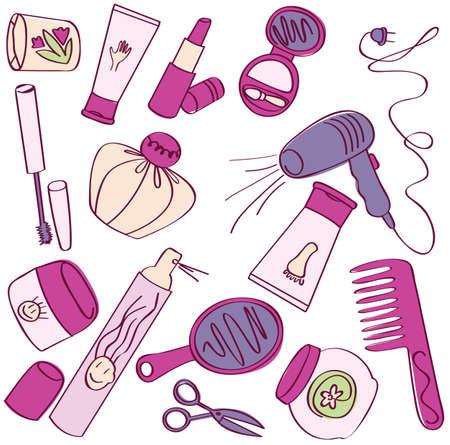 Collectie van vrouwelijke accessoires van schoonheid. Cosmetische pictogrammen