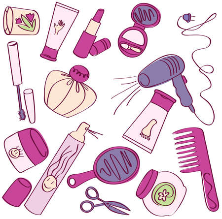 vanity: Collection of female accessories of beauty. Cosmetic icons Illustration
