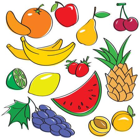 Cute fruits set Vector