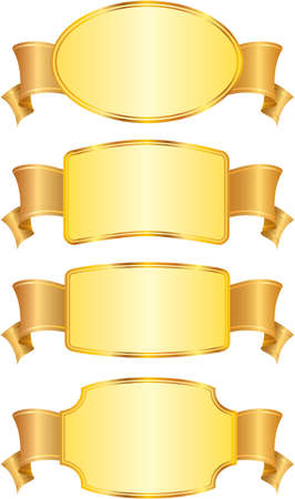 Set of design shields and ribbons. Vector