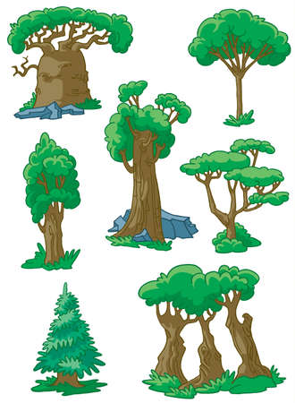 Trees set #2 (baobab, sequoia, acacia, poplar, oak, fur-tree, maple) Vector