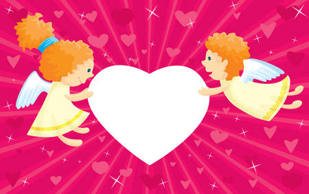 Two cupids with heart-shape frame Illustration