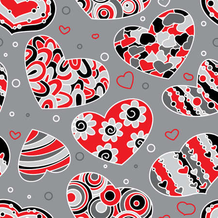 Valentines seamless background with hearts Vector