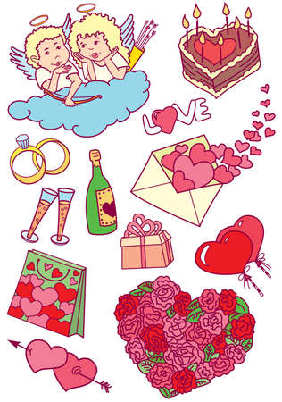 Collection of colourful valentines doodles Vector