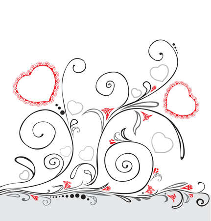 abstract floral ornament with heart Vector