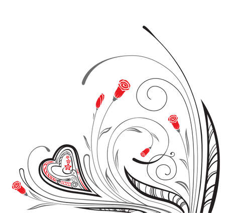 valentine`s floral ornament with heart Stock Vector - 7269432