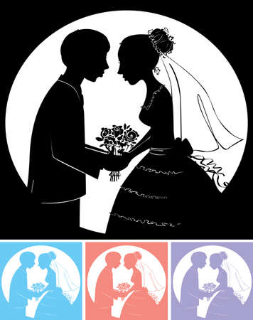 nuptials: Silhouette of the groom with the bride