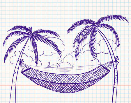 tropical climate: Doodle with hammock and palms