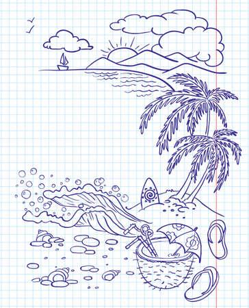 coconut drink: Summer doodle landscape Illustration