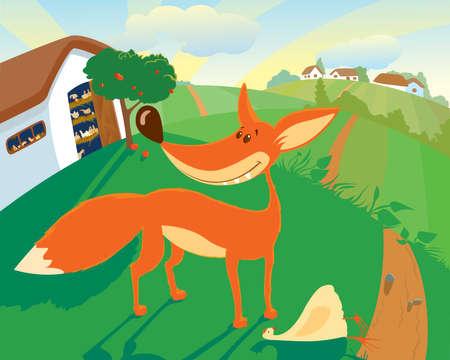 hay field: The fox has stolen the hen from a henhouse in broad daylight