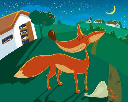 zorros: El zorro ha robado la gallina de un gallinero bajo una cubierta de noche