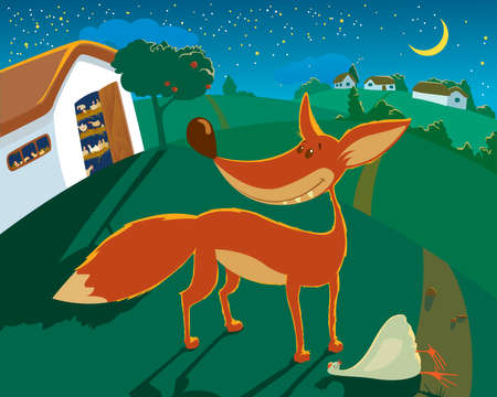 The fox has stolen the hen from a henhouse under a cover of night Stock Vector - 7298107