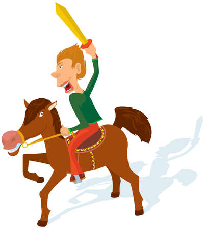 cavalry: The boy plays a cavalry. Illustration