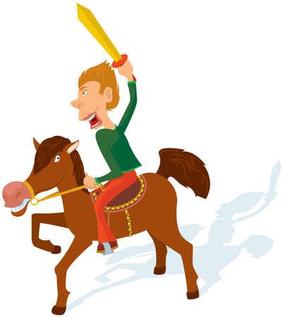 cavalryman: The boy plays a cavalry. Illustration