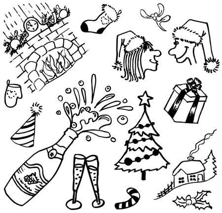 New year doodles set Vector
