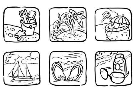 Doodle été icônes