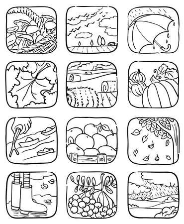 Doodle autumn icons set illustration Stock Vector - 7298171