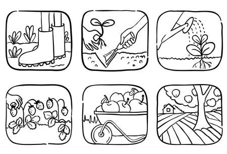 hand trowels: Set of gardening doodle icons