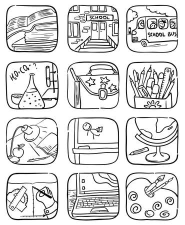 beaker: Doodle school icons set illustration