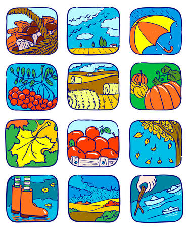 Doodle autumn icons set, vector illustration Stock Vector - 7314651