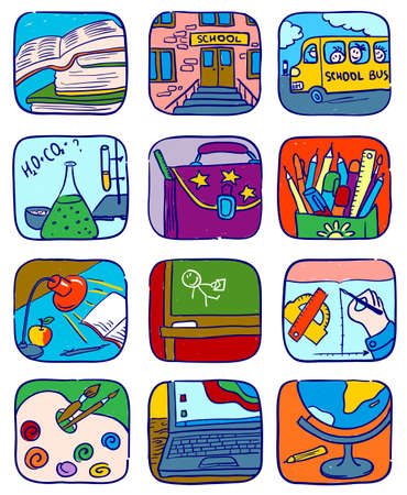 Doodle school icons set, vector illustration