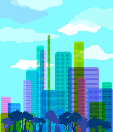 futuristic nature: Colorful abstract city, vector illustration
