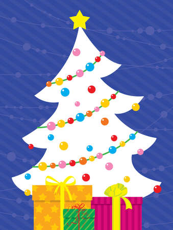 Christmas card with tree and gift-boxes Vector
