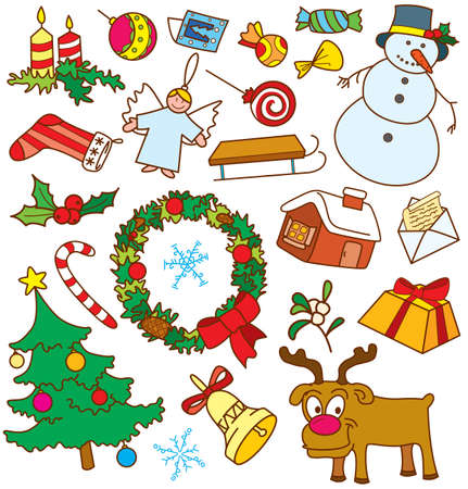 Christmas doodles. All objects are grouped, no gradients, easy to recolour Stock Vector - 7358952