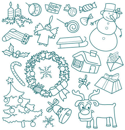 Christmas doodles, all objects are grouped. Vector