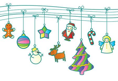 Christmas retro garland Vector
