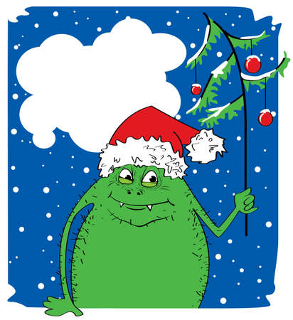 Green Christmas monster with fur-tree Stock Vector - 7358858