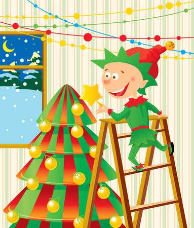 Elf decorates a Christmas fur-tree Vector