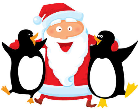 Santa with penguin Vector