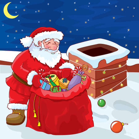 Santa on a roof at night Illustration
