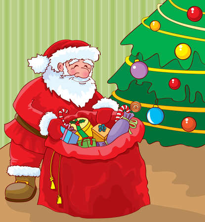 christmas room: Santa with bag of gifts under the Christmas tree Illustration