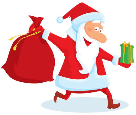Running santa with a bag and gifts