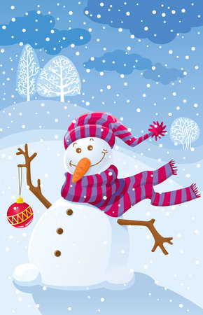 Illustration with a snowman and an empty place for your text