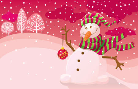 Illustration with a snowman and an empty place for your text Vector