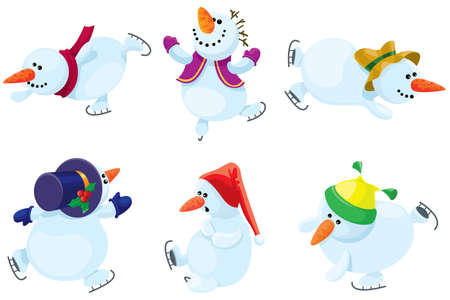 Collection of the skating snowmans