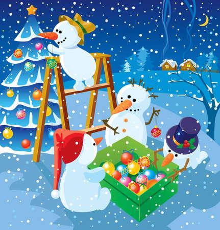 At winter night snowballs decorate a Christmas fur-tree Stock Vector - 7358889