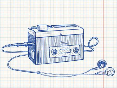 Retro audio cassette or tape recorder  Vector