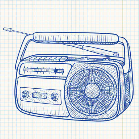 portable radio: Radio tape recorder Illustration