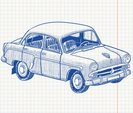 transportation cartoon: Retro soviet union car, part 2