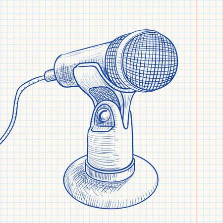 Doodle retro microphone Stock Vector - 7358894