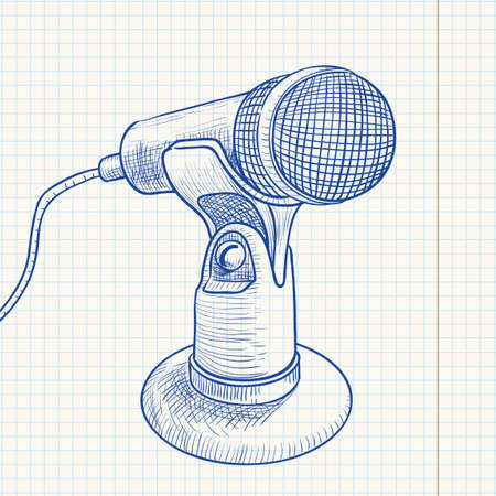 information medium: Doodle retro microphone
