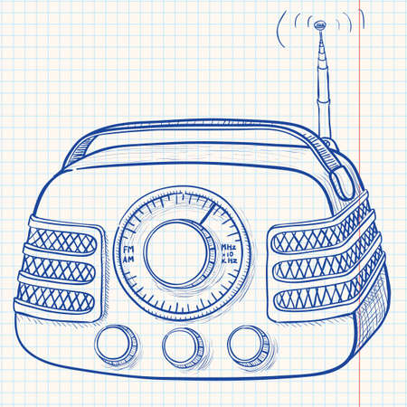 portable audio: Retro radio with antenna Illustration
