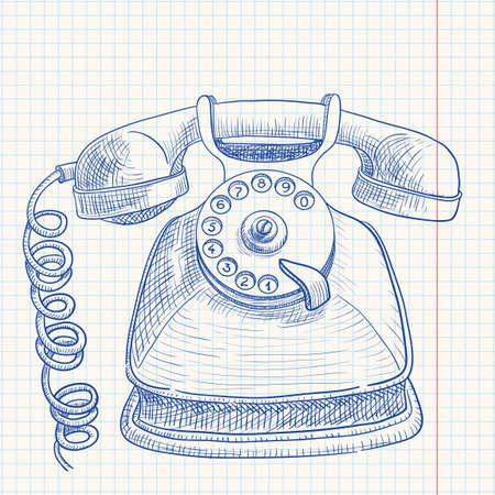 ringing phone: Doodle retro telephone