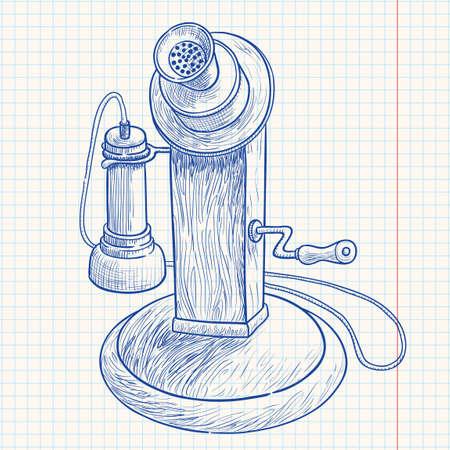 Doodle retro telephone Stock Vector - 7358947