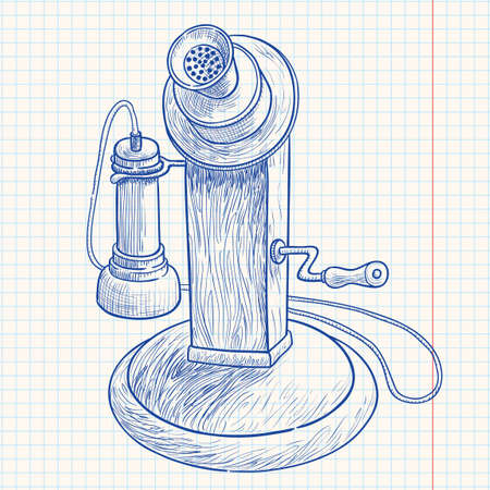 rotary dial: Doodle retro telephone